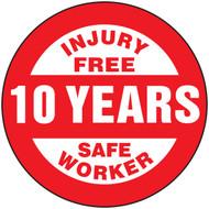 Injury Free 10 Years Safe Worker