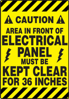 Caution Area In Front Of Electrical Panel Must Be Kept Clear For 36 In