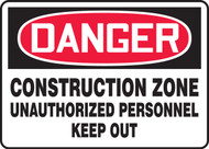 Danger - Construction Zone Unauthorized Personnel Keep Out 1