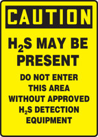 Caution - H2S May Be Present Do Not Enter This Area Without Approved H2S Detection Equipment - .040 Aluminum - 14'' X 10''