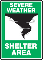 """Severe Weather Shelter Area - 10"""" x 7"""" - Safety Sign"""