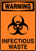 Warning - Infectious Waste (W/Graphic) - .040 Aluminum - 14'' X 10''