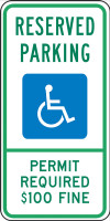 Montana Handicap Reserved Parking Permit Required $100 Fine