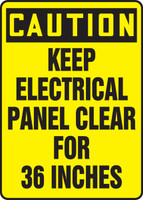 Caution - Keep Electric Panel Area Clear For 36 Inches - Re-Plastic - 14'' X 10''