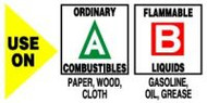 Use On Ordinary Combustibles Paper, Wood, Cloth Flammable Liquids