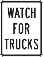 "Watch For Trucks Sign- 24"" x 18"""