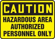 Caution - Hazardous Area Authorized Personnel Only