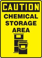Caution - Chemical Storage Area (W/Graphic) - Adhesive Dura-Vinyl - 14'' X 10''