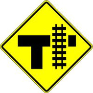 "T-intersection Parallel Railroad Crossing (right) 30"" X 30"" Engineer Reflective"