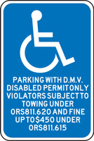 Oregon Parking With D.m.v. Disabled Permit Only. Violators Subject To Towing