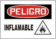Inflamable Bilingual Spanish Safety Sign