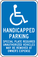 (massachusetts) Handicapped Parking Special Plate Required Unauthorized Vehicles May Be Removed At Owner''s Expense (w/graphic)
