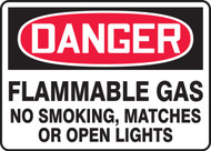 Danger - Flammable Gas No Smoking, Matches Or Open Lights