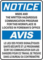 Notice - Notice MSDS And The Written Hazardous Communication Program For This Workplace