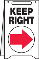 Keep Right Fold Up Sign (w/graphic)