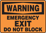 Warning - Emergency Exit Do Not Block