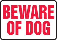 Beware Of Dog - Plastic - 10'' X 14''