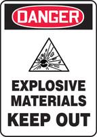 Danger - Danger Explosive Materials Keep Out W/Graphic - .040 Aluminum - 14'' X 10''