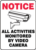 All Activities Monitored By Video Camera (W/Graphic) - Adhesive Dura-Vinyl - 14'' X 10''