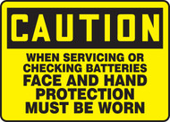 Caution - When Servicing Or Checking Batteries Face And Hand Protection Must Be Worn