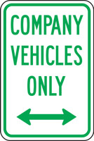Company Vehicles Only  (green/white)
