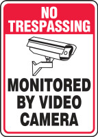 No Trespassing - Monitored By Video Camera (W/Graphic) - Adhesive Dura-Vinyl - 10'' X 7''