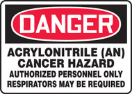 Danger - Acrylonitrile -An- Cancer Hazard Authorized Personnel Only Respirators May Be Required