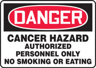 Danger - Cancer Hazard Authorized Personnel Only No Smoking Or Eating