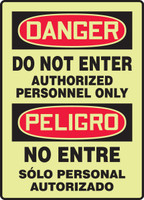 SBMLAD110GF Bilingual Spanish Safety Sign Danger Do Not Enter Authorized Personnel Only