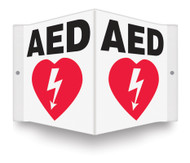"AED Safety Sign - 3D 6"" x 5"" - Safety Panel - Projection Sign"