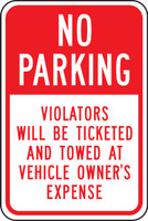 No Parking Violators Will Be Ticketed And Towed At Vehicle Owner''s Expense