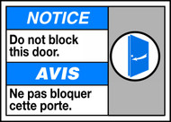 Notice Do Not Block This Door (W/Graphic)