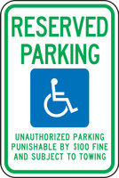Tennessee Handicap Reserved Parking Unauthorized Parking Punishable