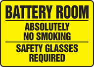 Battery Room Absolutely No Smoking Safety Glasses Required