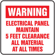 Electrical Panel Maintain 5 Feet Clearance All Material At All Times Label