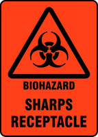 Biohazard Sharps Receptacle Sign MBHZ520VP