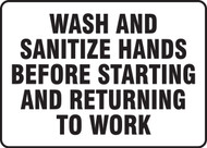 Wash And Sanitize Hands Before Starting And Returning To Work