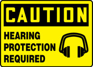 Caution - Hearing Protection Required (W/Graphic) - Adhesive Dura-Vinyl - 10'' X 14''