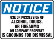 Notice - Use Or Possession Of Alcohol, Drugs Or Firearms