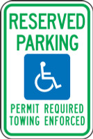 Arkansas Handicap  Reserved Parking Permit Required Towing Enforced