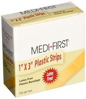 "Plastic Strip Bandages - 1"" x 3"" - Latex Free - 60/box"
