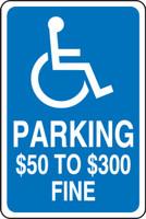 Missouri Handicap Parking $50 To $300 Fine Sign