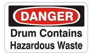 Danger Drum Contains Hazardous Waste Labels- 25/pkg