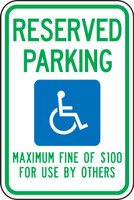 Nevada Handicap Reserved Parking Maximum Fine Of $100