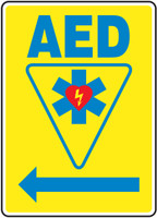 AED Sign  Left Arrow