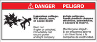 Hazardous Voltage. Will Shock, Burn Or Cause Death. Keep Out. Bilingual