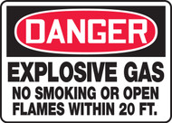 Danger - Explosive Gas No Smoking Or Open Flames Within 20 Ft.
