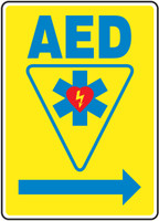 AED Sign Right Arrow