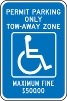 Ggeorgia - Metro Atlanta Handicapped Permit Parking Only Tow-away Zone Maximum Fine $50000