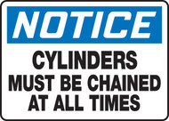 Notice - Cylinders Must Be Chained At All Times